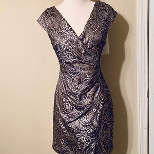 Nikibiki Lace Cocktail Faux Wrap Bronze Mini Dress